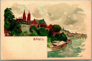 1910s BASEL Switzerland Postcard Panorama View River / Town Artist-Signed MUTTER