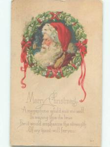 Pre-Linen Christmas SANTA CLAUS SMOKING HIS TOBACCO PIPE AB4835