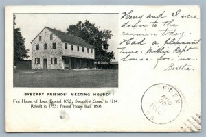 PHILADELPHIA PA BYBERRY FRIENDS MEETING HOUSE 1906 ANTIQUE POSTCARD