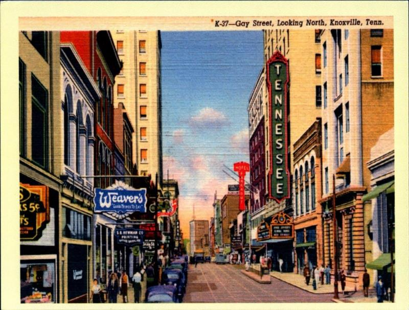 Gay Street, Knoxville, Tennessee TN Vintage REPRO Postcard R0016