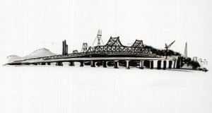 Oakland Bridge San Fransisco California Sketch Painting Postcard