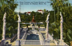 Florida Miami Viscaya Dade County Art Museum Water Fountain & Formal Gardens ...