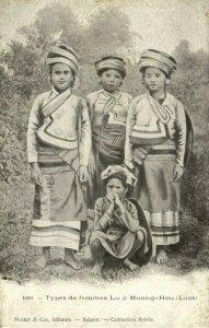 indochina, LAOS, Types de femmes Lu à Muong-Hou, Native Girls (1899) Postcard