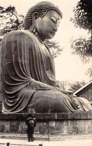 Kamakura Japan Amida Buddha Side View Real Photo Antique Postcard K100530