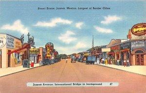 Juarez Avenue, International Bridge in Background Juarez Mexico Tarjeta Posta...