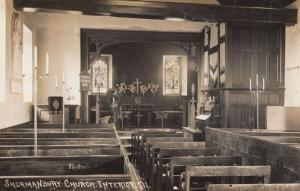 Shermanbury Horsham Sussex Church WW1 Organ Interior Antique Real Photo Postcard