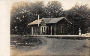 F68/ Westview Cleveland Ohio RPPC Postcard '08 Railroad Depot Occupational