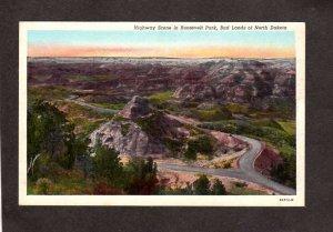 ND Highway Roosevelt Park Bad Lands of North Dakota Postcard