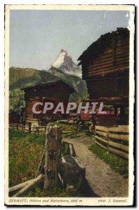 Old Postcard Zermatt Matterhorn und Hutten