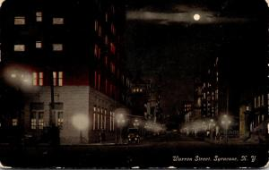 New York Syracuse Warren Street At Night 1911