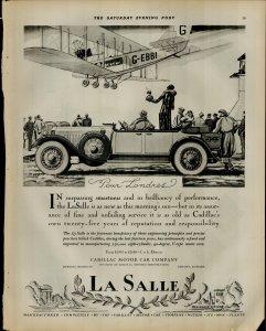 1927 La Salle Car Company G-EBBI Plane Pour Londres Vintage Print Ad 3918