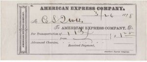 1878 Freight Receipt, AMERICAN EXPRESS COMPANY