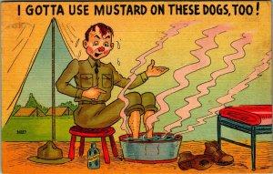 Military Comic Use Mustard on Hot Dogs Soldier Soaks Feet Linen Postcard