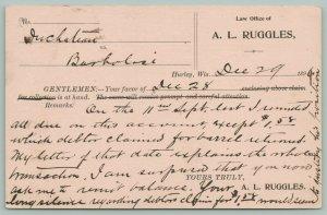 Hurley Wisconsin~AL Ruggles Attorney at Law~Duchatian vs Barbolosi~Dec 29th 1899