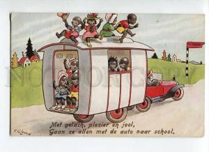 264918 BLACK AMERICANA Kids CAR School by FG LEWIN vintage PC