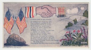 P2089, old patriotic postcard usa flags hand shake usa & scotland unused