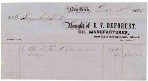 1855 Billhead, C. V. DEFOREST, Oil Manufacturer, New York City