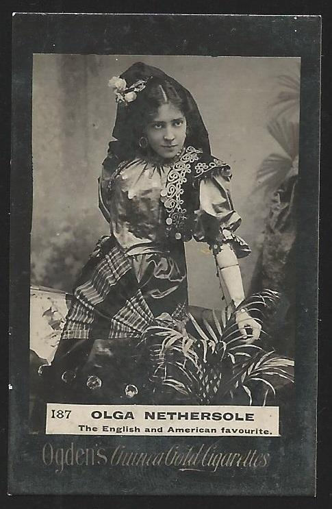 Ogden's Guinea Gold OLGA NETHERSOLE Cigarettes Card. Usual Small faults