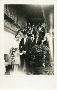 Early wedding photo postcard groom bride social history