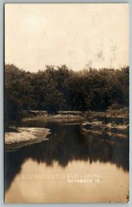 Reinbeck Iowa~Shadows & Curves~Reflections on Blackhawk River~c1910 RPPC