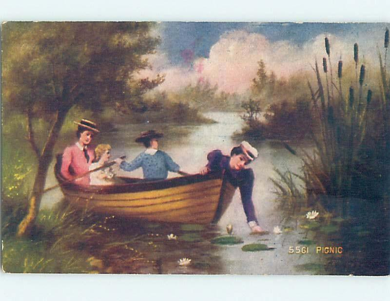 Pre-Linen FOUR WOMEN IN ONE ROWBOAT BOAT HAVING A PICNIC HL6354