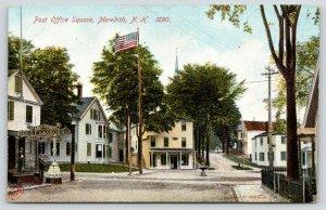 Meredith NH~Post Office Square~Geo F Sanborn Fancy Goods~Barber Shop~c1905
