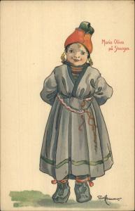 Else Hammar Sweden Scandinavian Children Costume c1905 Postcard SKANSEN