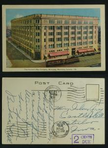 Hudson's Bay Co Winnipeg , streetcars , pmk 1938