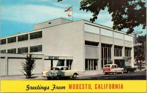 postcard Greetings from Modesto, California - Modesto Irrigation District Blding