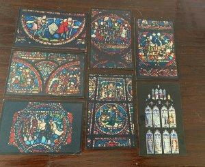 Ensemble 7 Tucks Canterbury Cathédrale Postcards Ancien Verre & Royal Fenêtre En