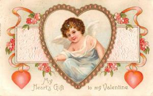 Valentines Greetings Cupid Angel Hearts Flowers Antique Postcard J55671