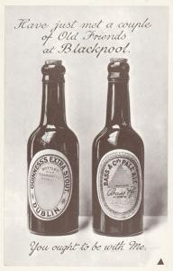 Old Friends At Blackpool Bass Beer Bottles Advertising Postcard