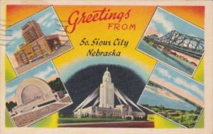 Nebraska Greetings From South Sioux City 1954