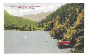 Canada British Columbia Harrison Hot Springs  Sailboat on Lake Vintage Postcard