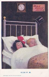 Children sleeping in their bed, Home Sweet Home, Top Hat, 10:30 P. M., 1906