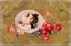LOVELY ANTIQUE CAT POSTCARD PLAYFUL TABBY KITTIES HAPPY THOUGHTS