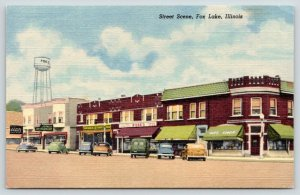 Fox Lake Illinois~Main Street~Rose's Sporting Goods~National Grocery Store~Linen