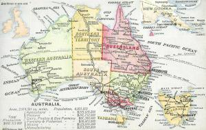 c1915 Postcard Color Map of Australia & New Guinea w/ Facts of Interest unposted