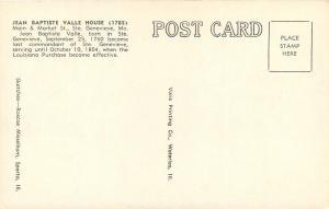 Ste Genevieve Missouri~Jean Baptiste Valle House~1960s Artist Postcard
