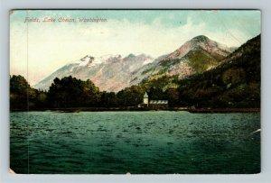 Lake Chelan WA-Washington, Church, Scenic Mountain Lake View, Vintage Postcard