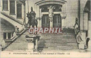 Old Postcard Pierrefonds Chateau Court and the interior staircase