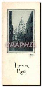 Old Postcard Merry Christmas Montmartre Paris