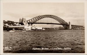 Harbour Bridge Luna Park Sydney Australia Unused Real Photo Postcard E57