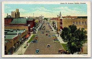 Salina KS~1 Stop Service Gas Station~Pump on Sidewalk~Santa Fe Ave~1937 Postcard