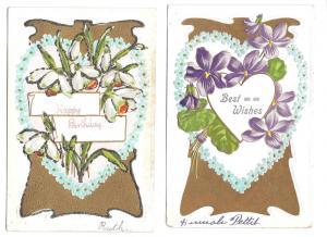 Best Wishes Happy Birthday Violets Narcissus 2 Postcards