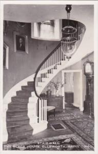 Hallway and Stairs The Black House Ellsworth Maine Real Photo
