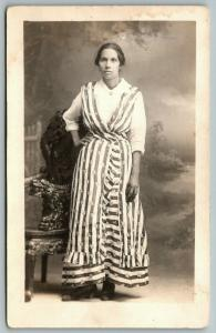 Real Photo Postcard~Strong Patriotic Woman~Stars & Stripes~Studio Portrait~c1916