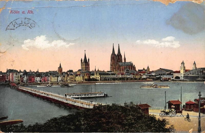 Koln am Rhein River Bridge Boats Cathedral General view Postcard