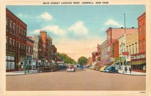 Hornell New York~Main Street Looking West~Storefronts~Franklin's~1940s Postcard