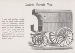 London Mahogony Parcels Van Postcard
